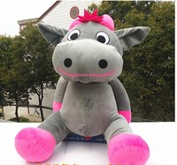lovely cow plush toy sitting gray cow stuffed doll big mouth cow toy birthday gift about 70cm