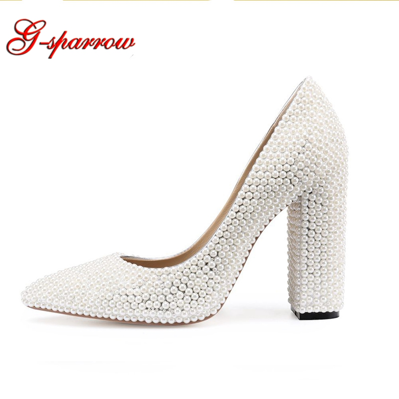 цены Bride Wedding Shoes 2018 Chunky Heel Banquet Party Shoes Fashion White Pearl Prom High Heels Pointed Toe Lady Pumps Size 41