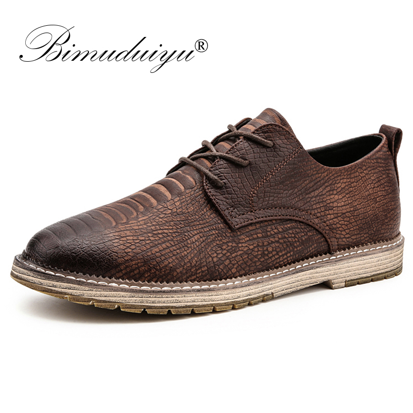 BIMUDUIYU Luxury Brand British Toe Retro Shoes Lace Up Casual Shoes Sneakers Men Flat Shoes Crocodile Pattern Style Men's Shoes casual woman british style flat retro shoes soft bottom lady outdoor driving shoes black brown wine red lace up peas shoes