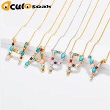 1pcs Wholesale multicolor CZ charm necklace fashion 26 Gold Alphabet letter pendant necklace micro pave zircon letter necklaces