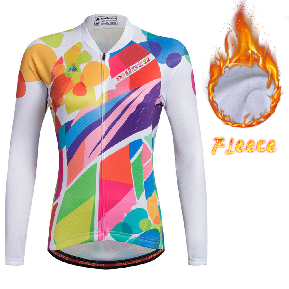 9342468c4 Womens Long Sleeve Thermal Fleece Cycling Jersey MILOTO Team Ladies Cycling  Jerseys Warmer-in Cycling Jerseys from Sports   Entertainment on  Aliexpress.com ...