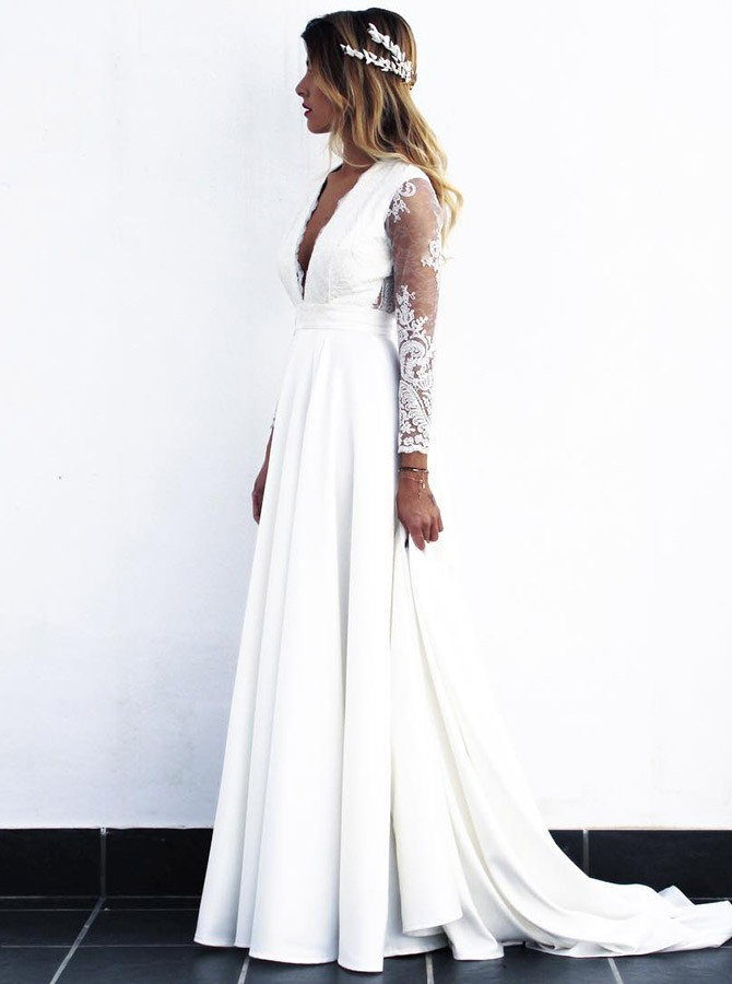 Cheap Long White Lace A-line Wedding Dresses Bridal Gowns vestido de noiva 2019 with see-through long sleeves