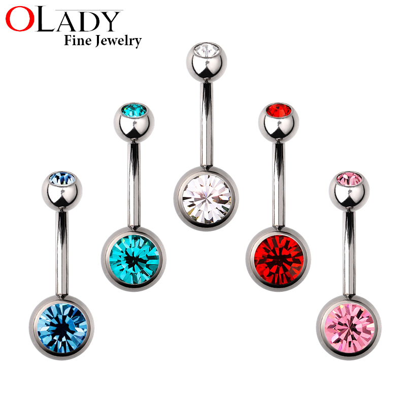 Silver Titanium Navel & Belly Button Rings piercing body jewelry - 16G 1.6MM Ball 5mm and 8mm Lenght 10mm