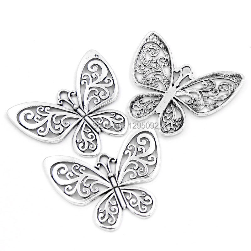 25Pcs Silver Tone Hollow Butterfly Metal Charms Pendants Jewelry Component 5 7cmx5cm 2 2 8 quot x2 quot in Pendants from Jewelry amp Accessories