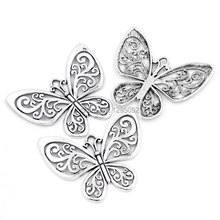 25Pcs Free shipping Hot Sell New DIY Hollow Butterfly Silver Tone Charms Pendants Component 5.7cmx5cm(2 2/8