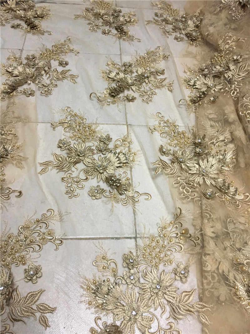 H-1918 3D Цветы Вышитые Тюль Кружевная Ткань 5 ярдов нигерийская кружевная ткань высококачественные блестки африканский тюль кружевная ткань