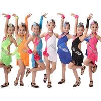 Girl Latin Dress Children Tassel Latin Ballroom Dancewear Dresses Party Dance Costume Clothes Competition Performance Skirt