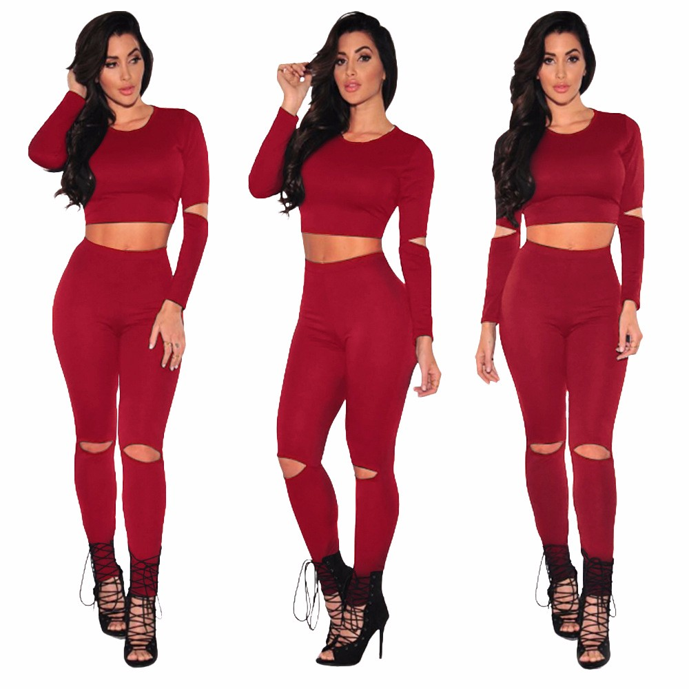 Sexy Two pieces Rompers Women Jumpsuit 2017 New Women Bodycon Jumpsuit O Neck Long Sleeve Fashion Club Bodysuit Bandage Jumpsuit 14
