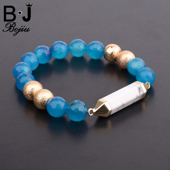 Blue Natural Stone 10mm Beads Women Bracelet