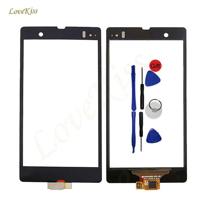 Pannello Digitizer Touch Screen Per Sony Xperia Z C6602 C6603 L36H Touchscreen Sensore Anteriore Esterno Obiettivo di Vetro di Ricambio Strumenti