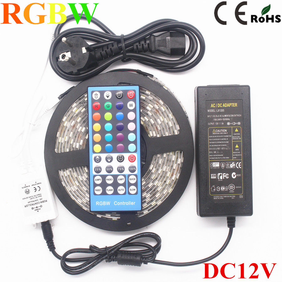 5M Waterproof SMD 5050 RGBW/RGBWW Led Strip Light 60LEDs/m Flexible LED Light+Remote Controller+DC12V 5A Power Supply Adapter