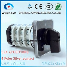 Rotary switch YMZ12-32/4 electrical Combination Changeover cam switch 32A 4 pole 0-6 position sliver contacts high voltage