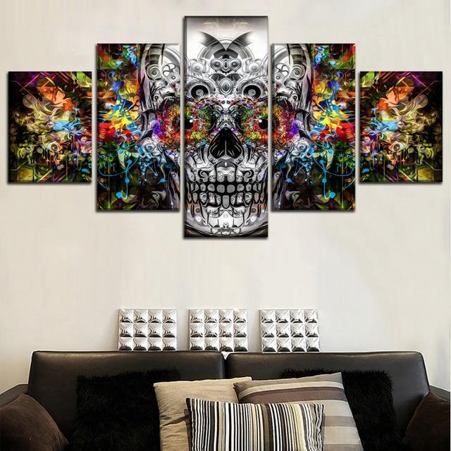 5 PANEL ARTISTIC Skull WALL POSTER