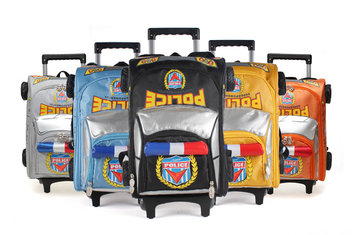 2015 Cool 3D Police Car Models Rolling Trolley Backpack Primary School Children Kids Wheel Bag - BEST ON LINE STORE store
