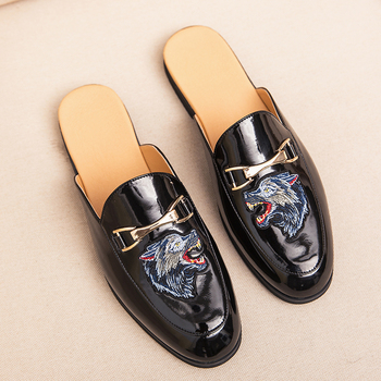 2019 New Summer Half Slippers for Mens Size 38-44 Men Shoes Luxury Brand Men Designer Sneakers for Men Half Drag Loafers Men trend brand men flats sneakers brown black half slippers for men non slip lazy shoes mens half drag loafers flats men shoes