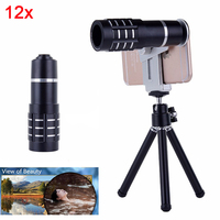 2017 New 12x Phone Lentes Telephoto Zoom Lenses Camera Lens Telescope For iPhone 7 Xiaomi Samsung Huawei moto With Clips Tripod