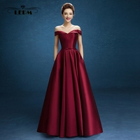 Robe Demoiselle D Honneur Femme 2017 New Style Satin Hat Sleeves Floor Length Burgundy Bridesmaid Dresses