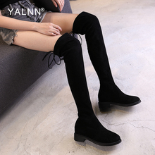 YALNN Women Boots Winter 2019 High Knee Boots Over the Knee Sexy Black Lace-up Round Toe Women Shoes Boots Solid Short Plush цена в Москве и Питере