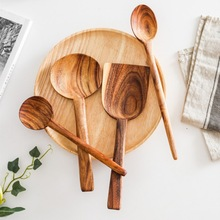 Wooden Spoon Long Handle Non-stick Pan Big Soup Spoon Spatula Cooking Utensils Resuable Tablewares Kitchen Cooking Tools