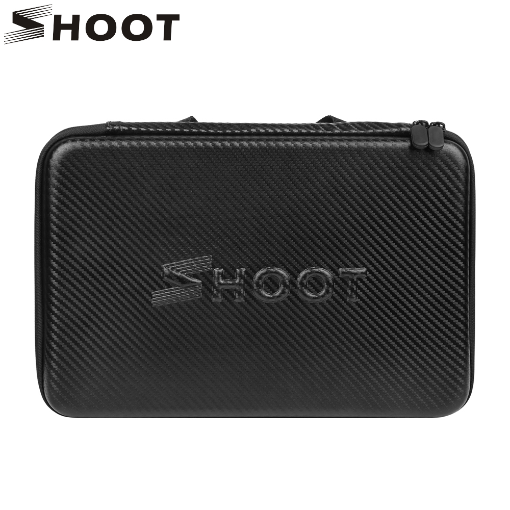 SHOOT Large Protable PU Waterproof Carrying Case for GoPro Hero 6 5 4 3 SJCAM Xiaomi Yi 4k 2 Eken h9 Camera Box Go Pro Accessory
