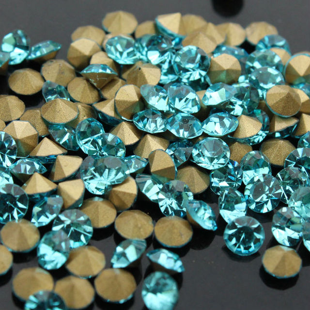 ss4 to ss25 1440pcs blue lake color Czech Crystal Rhinestones Round Pointed  back Crystal Color Chaton Strass Stones-in Rhinestones from Home   Garden  on ... 8a618dd25cb3