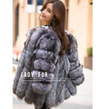 2015 otoño abrigo de invierno cálido nuevo Silver Fox Fur coat para mujer ropa de abrigo abrigo de pieles moda más el tamaño S-4XL