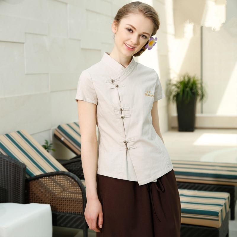 Beautician work clothing summer health SPA uniform cotton linen beauty salon sets Kotofusa career quality work wear sales