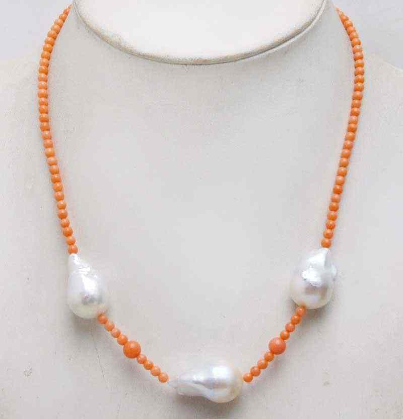 "Qingmos 14*25mm White Baroque Natural Nuclear pearl 18"" Chokers Necklace for Women with 3-4mm Pink Coral Beads-nec6340 Free Ship"