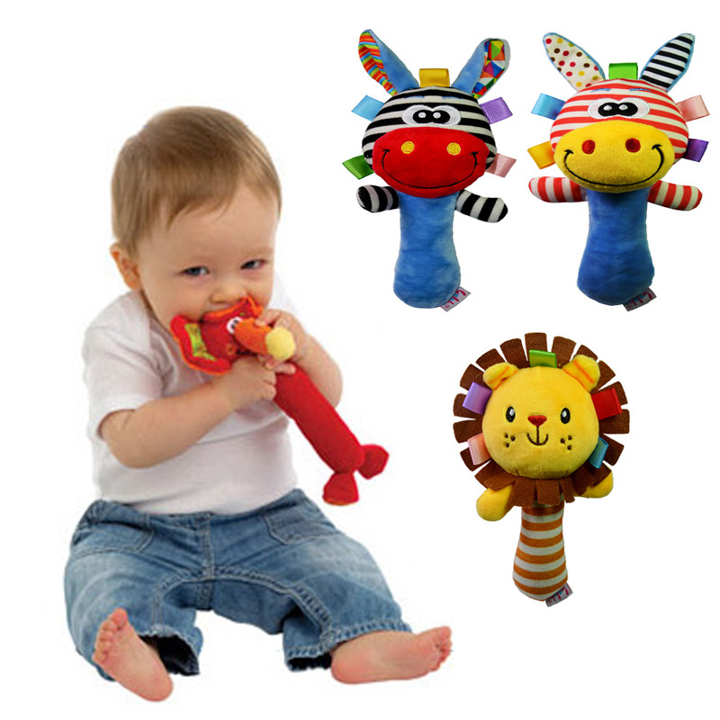 Soft Baby Kid Toy Ring Bell BB Baby Plush Rattle Squeaker ...