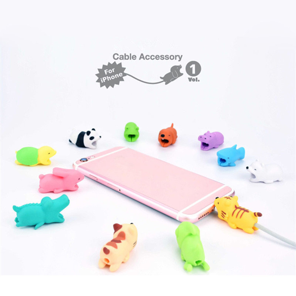 1 pcs Cable Bite Charger Protector for iPhone X 7 cable Winder Phone holder Accessory Cable Chompers Animal Protectors Bite new dropshipping big cable chompers 1pcs phone bite accessory