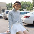 Autumn Winter Sweater Harajuku Pullover Women Lace Up Heart High Neck Knitted Sweater Pullover Sweaters