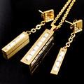Banhado A ouro Conjuntos De Jóias de Cristal Retangular Colar Pingente de Aço Inoxidável 316L Para As Mulheres Do Parafuso Prisioneiro Do Vintage Brinco Set LTS560