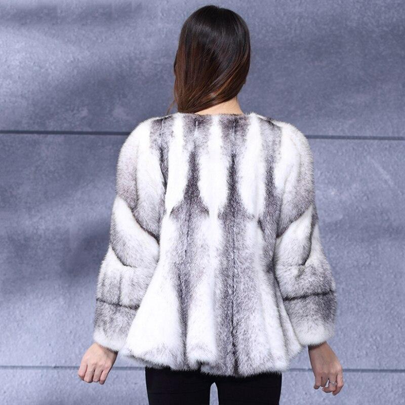 LVCHI 2019 Çapraz Çizgili kadın Gerçek Kürk Deri Çapraz Vizon - Bayan Giyimi - Fotoğraf 4