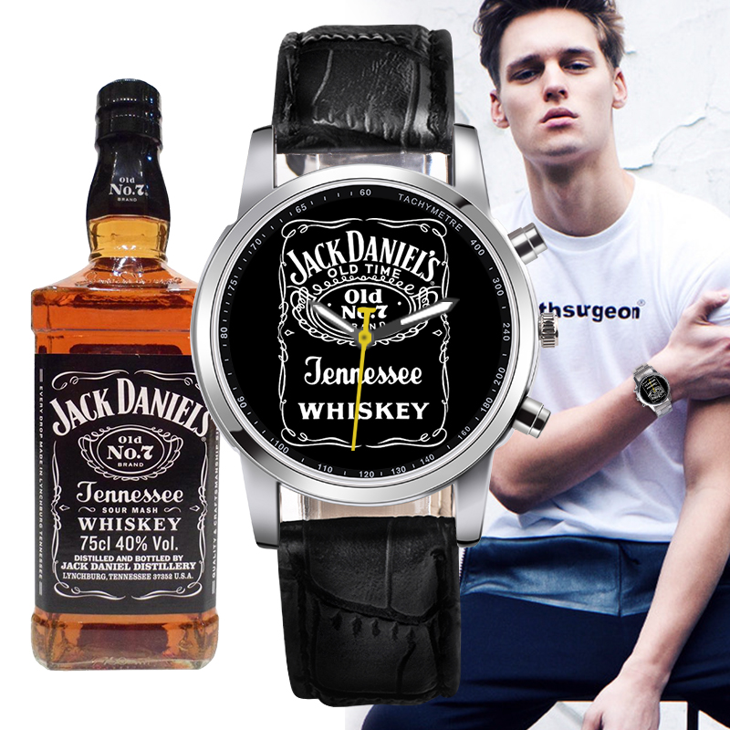 Brand New 1pc Classic JACK DANIELS whisky Women Men quartz Leather Stainless Steel Band watch sports watches for Men and Women