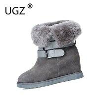 UGZ Sheepskin Ankle Winter Boots Women Snow Shoes Female Hidden Wedges Increased Wool Inside Botas Chestnut
