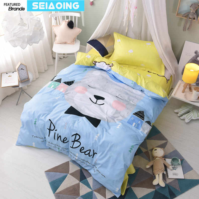 100% cotton bed linens twin cartoon bear bedding set 3d animals duvet cover bright color girl children decor sheep sheets single