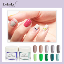 BELESKY Dipping Powder Gradient French Nail Color Glitter Without Lamp Cure Art Decorations (D061-D080)