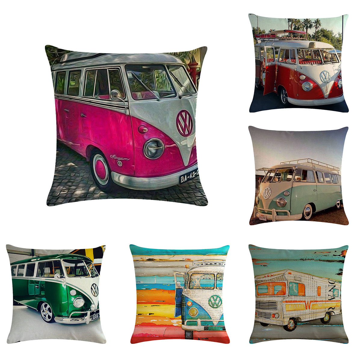 Cushion Covers 45cm*45cm Retro Volkswagen Bus Design Linen/cotton Throw Pillow Covers Couch Cushion Cover Home Decorative Pillow