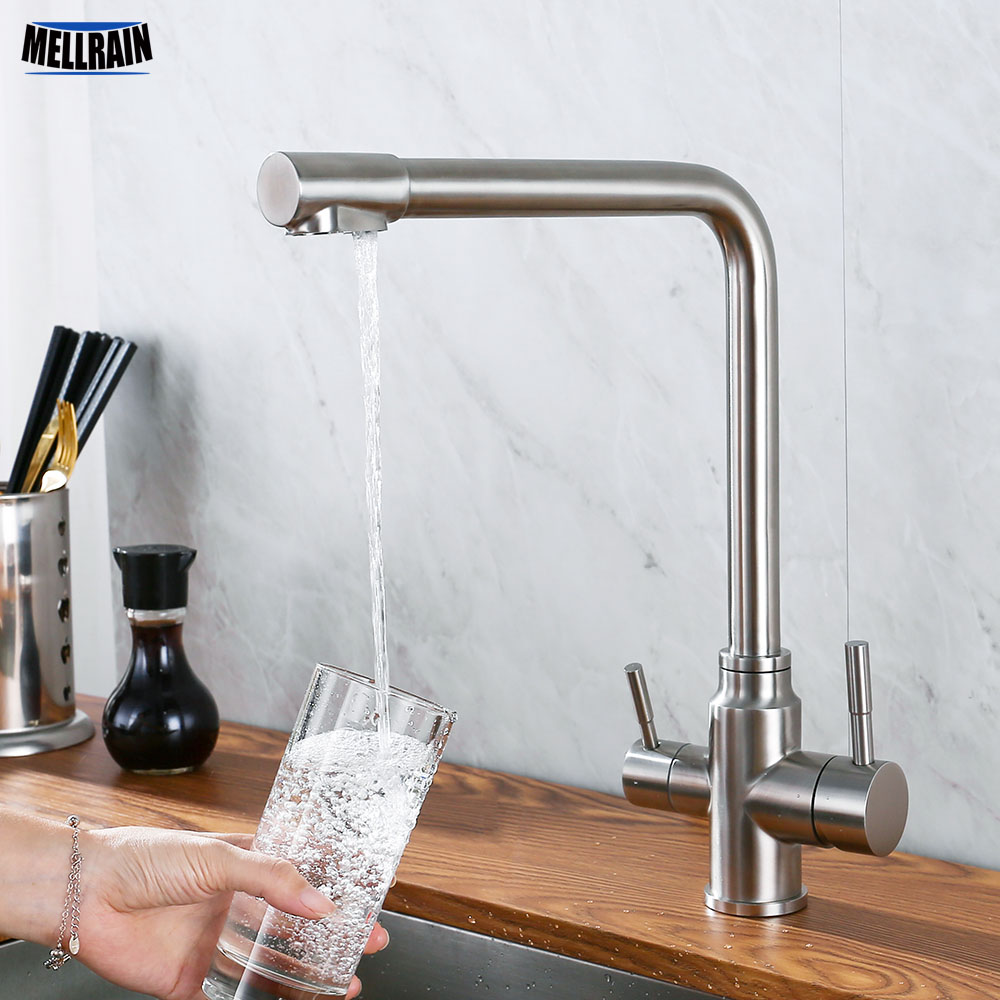Double Handles Hot & Cold Drinking Water Kitchen Faucet Stainless Steel Round Solid Sink Deck Mount Mixer Water 3 Ways Tap