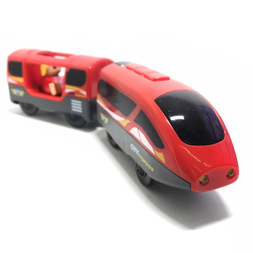 w06 New Remote control magnetic electric locomotive compatible toy car wooden track red worldwide train