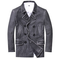 HARLEY DAMSON Vintage Black Men Long Casual Pea Coat Double Breasted Genuine Cowhide Russian Spring Natural Leather Coat