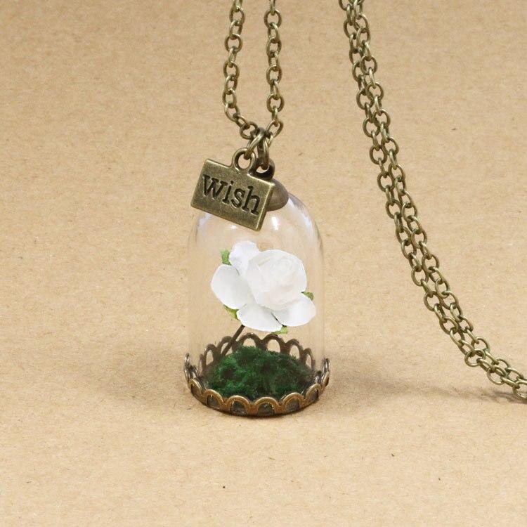 HTB1LpXfQFXXXXaOXVXXq6xXFXXX8 - 1PC jewelry Beauty and the Beast Necklace Wish Rose Flower in Glasses Pendant Necklace PTC 198