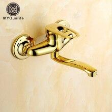 Золотой Одной ручкой Кухня смесителя двойной отверстие настенный вращающийся Ванная комната Кухня воды краны больше нос
