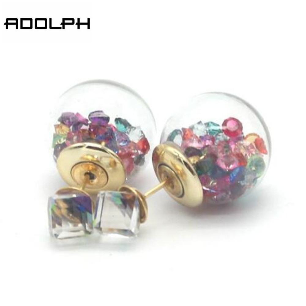 ADOLPH Jewelry Wholesale 2016 New 10 Colors Fashion Double Side Square Stud Earrings For Women Crystal Earring Hot