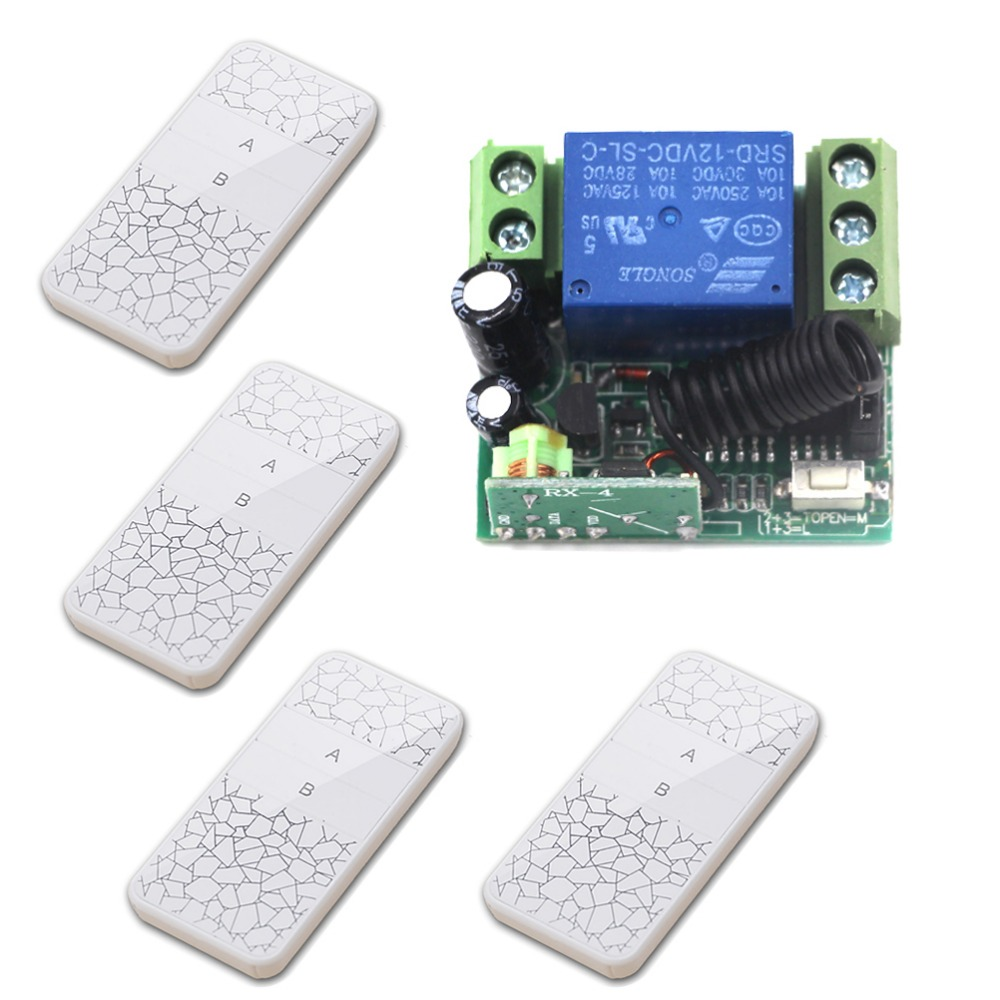 Factory Price Auto Door Opener DC12V 1CH RF Wireless Remote Control Switch System 4* White Transmitter+1* Receiver Mini Sizes wireless relay remote control light switch auto door opener