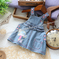 Free shipping Retail new 2014 spring autumn baby clothing baby girl dresses all-match casual denim dress kids suspender dres
