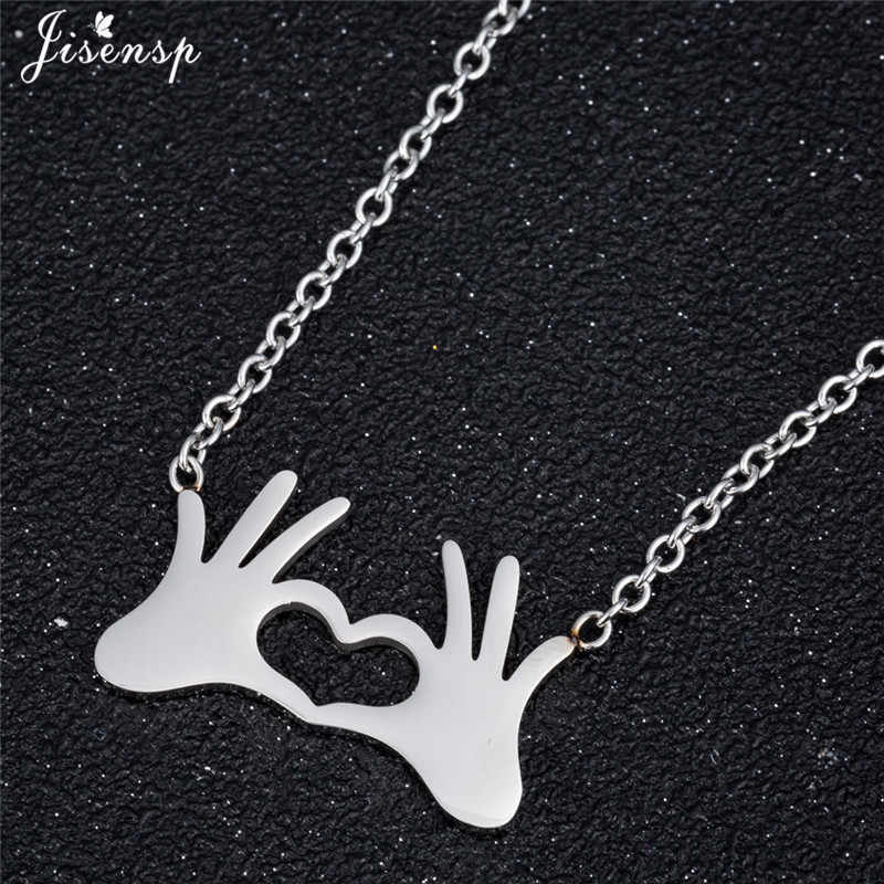 Jisensp Double Hand OK Gestures Necklace Stainless Steel Friendship Jewelry Small Love Heart Necklaces Pendants collier femme