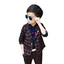 Boys Suits For Weddings  Stripe Fashion Blazer suit for boy costume Jacket + pants 2piece