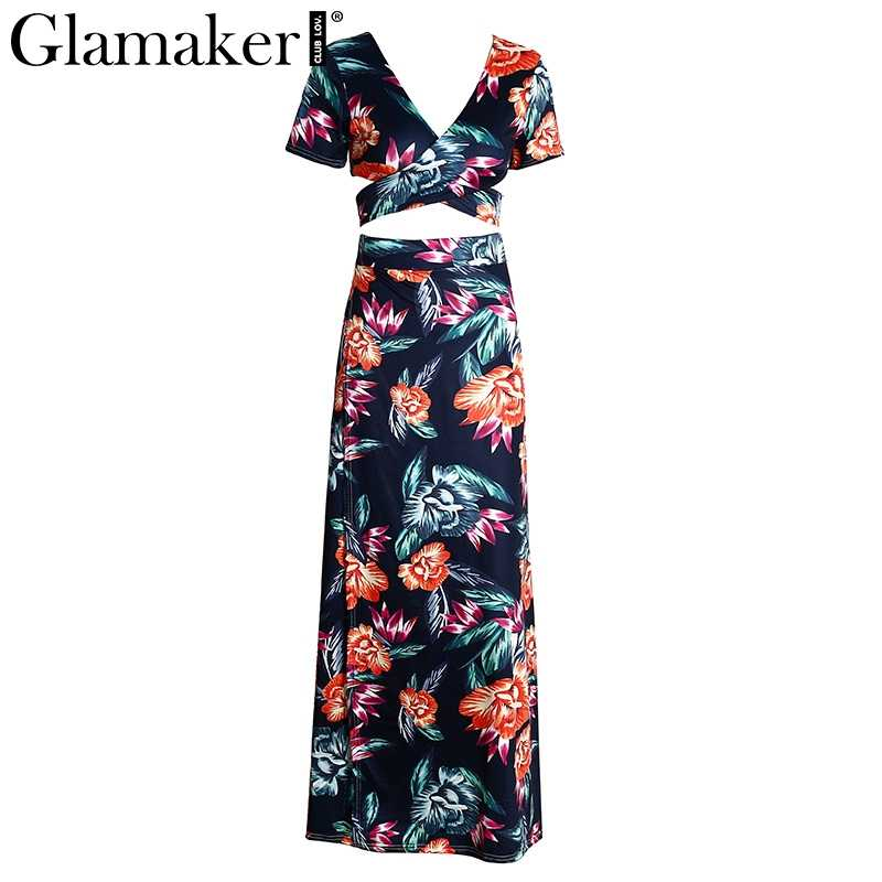 Glamaker floral Dress ... Glamaker Floral summer dress women high slit long dress Printed maxi  beach dress female Crop top