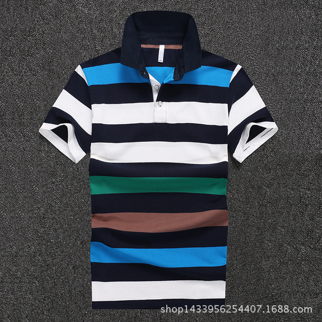 Men Polo Shirt 2016 New Summer Business Casual Men's Short Sleeve Polo Shirts Blue Striped Cotton Camisa Polo D1645